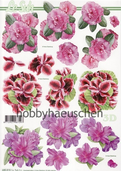 Le Suh 3D Step-by-Step-Stanzbogen RHODODENDRON