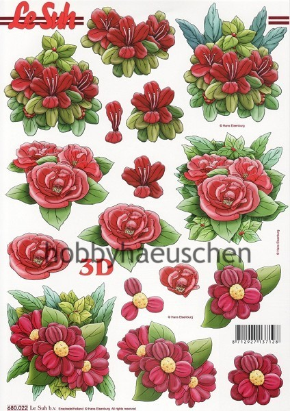 Le Suh 3D Step-by-Step-Stanzbogen ROTE BLÜTEN