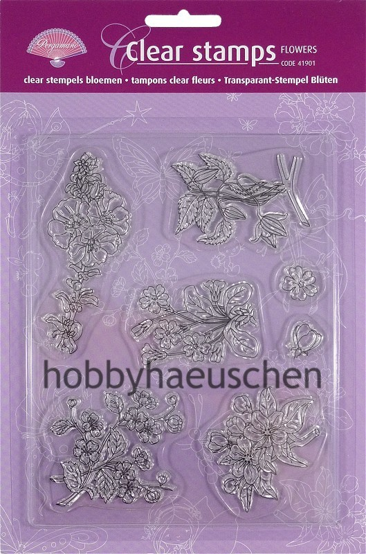 PERGAMANO® Clear Stamps Transparente Stempel BLÜTEN (FLOWERS), 7 Stempel