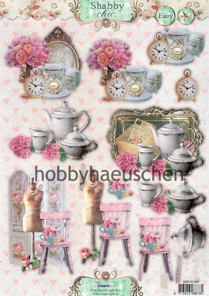 StudioLight 3D Step-by-Step-Stanzbogen SHABBY CHIC - ACCESSOIRES