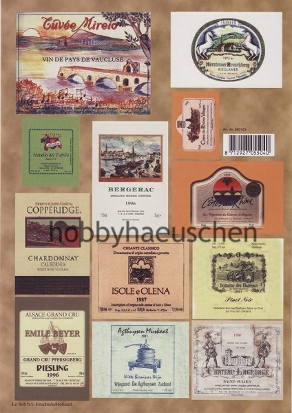 Le Suh Old Style Deko-Sticker WINE LABELS